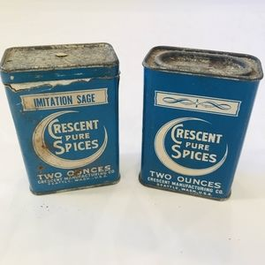 Vintage blue Crescent spice tins sage and savory